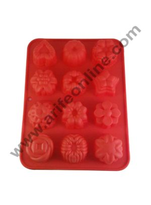 Cake Decor Silicon 12 in 1 Mix Flowers Shape Muffin Cupcake Mould