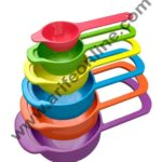 Cake Decor 6 in 1 Plastic Measuring Cups and Spoon, Multicolor Cups and Spoon Set