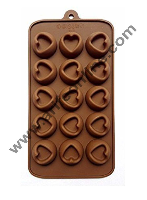 Cake Decor Silicon 15 Cavity Heart Design Brown Chocolate Mould, Ice Mould, Chocolate Decorating Mould 1