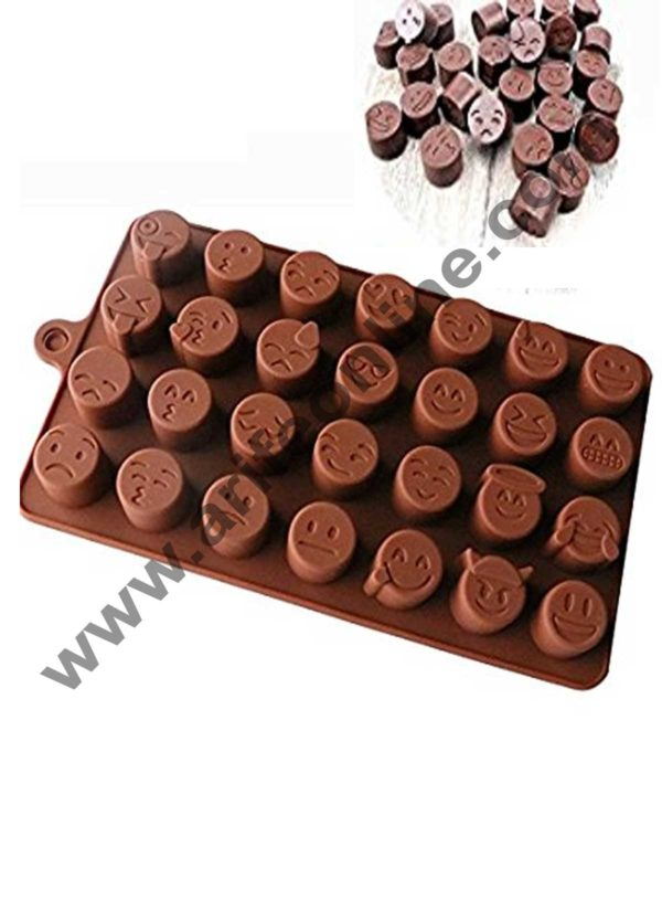 Cake Decor Silicon 28 Cavity Smiley Shapes Design Brown Chocolate Mould, Ice Mould, Chocolate Decorating Mould 1