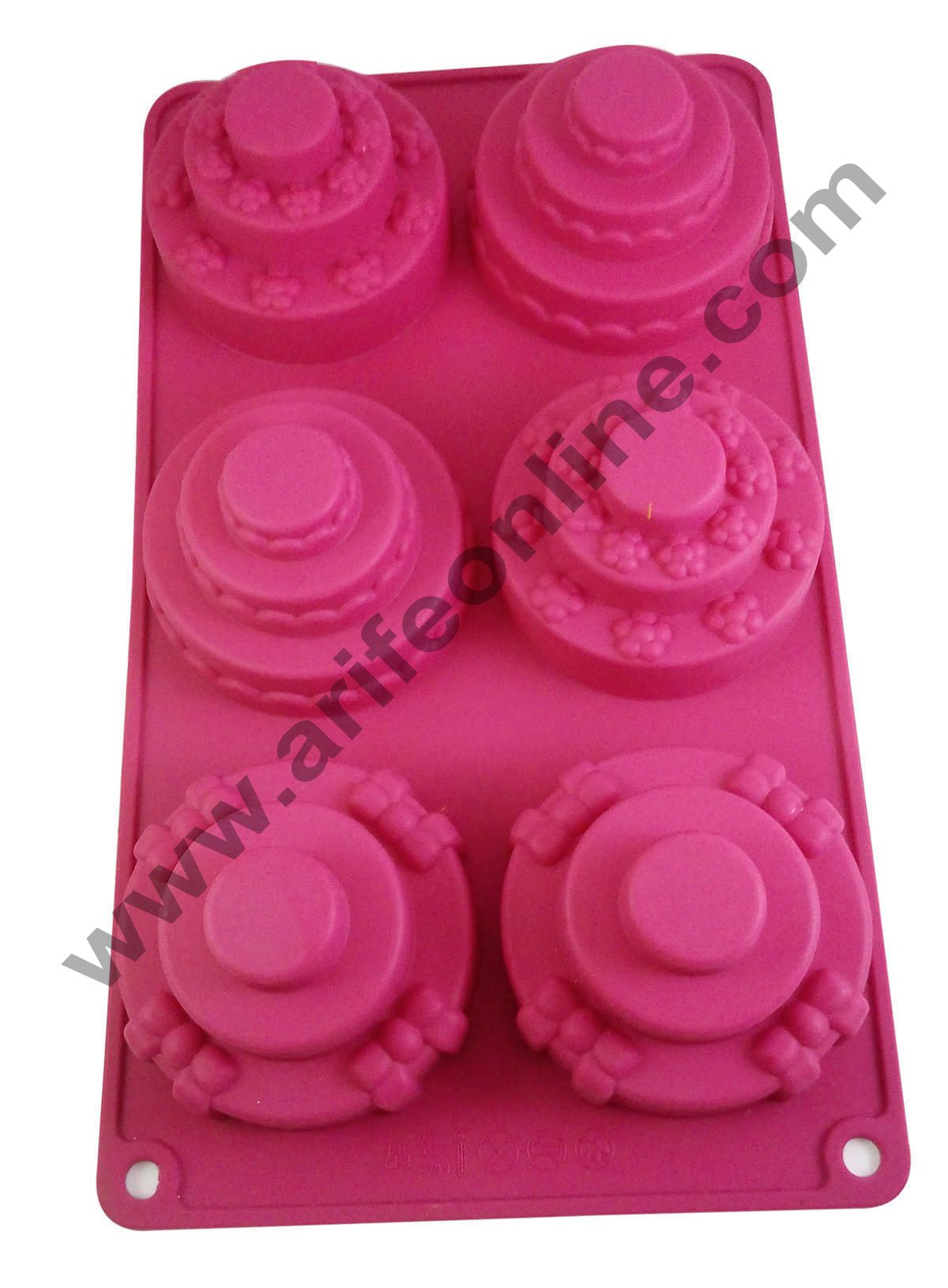 Cake Decor Silicon 6 in 1 Three Tier Muffin Cupcake Mould