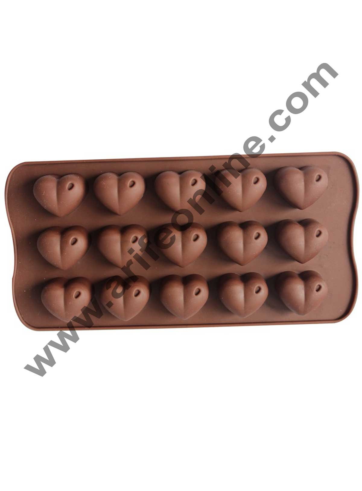 Cake Decor Silicon 15 Cavity Heart Design Brown Chocolate Mould, Ice Mould, Chocolate Decorating Mould