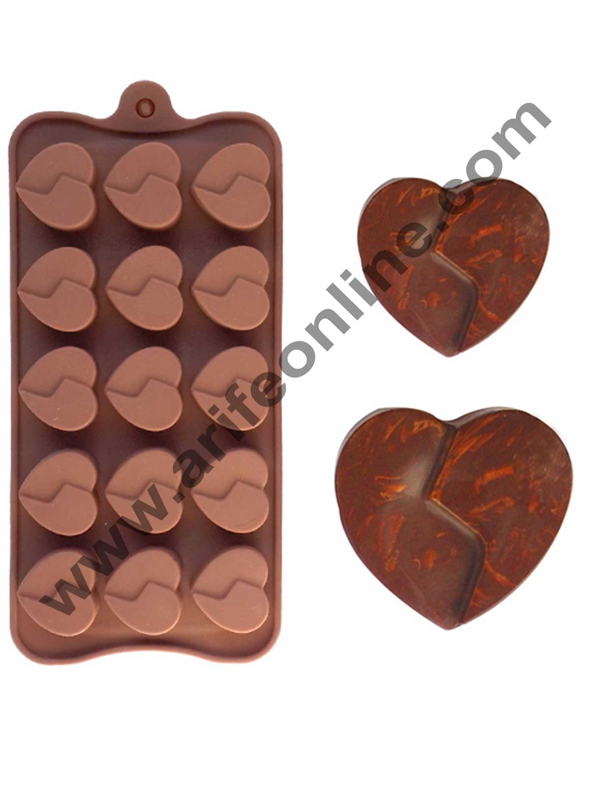 Cake Decor Silicon 15 Cavity Double Heart Shape Brown Chocolate Mould, Ice Mould, Chocolate Decorating Mould