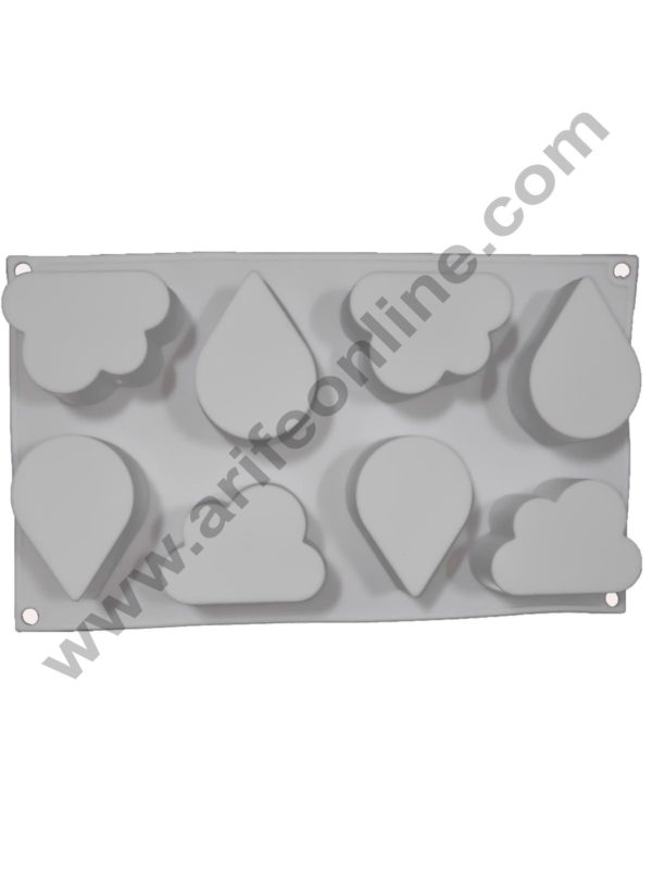 Cake Decor Silicon 8 Cavity Water Drops and Cloud Shape, Non Sticky Mold for soap,Chocolate, Fondant Sugar bakeware Mold 1