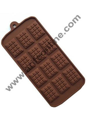 Cake Decor Silicon 12 Cavity Thin Dairy milk Brown Chocolate Mould, Ice Mould, Chocolate Decorating Mould
