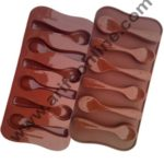 Cake Decor Silicon 6 Cavity Spoon Design Brown Chocolate Mould, Ice Mould, Chocolate Decorating Mould