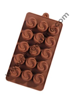 Cake Decor Silicon 15 Cavity Rose Shape Brown Chocolate Mould, Ice Mould, Chocolate Decorating Mould
