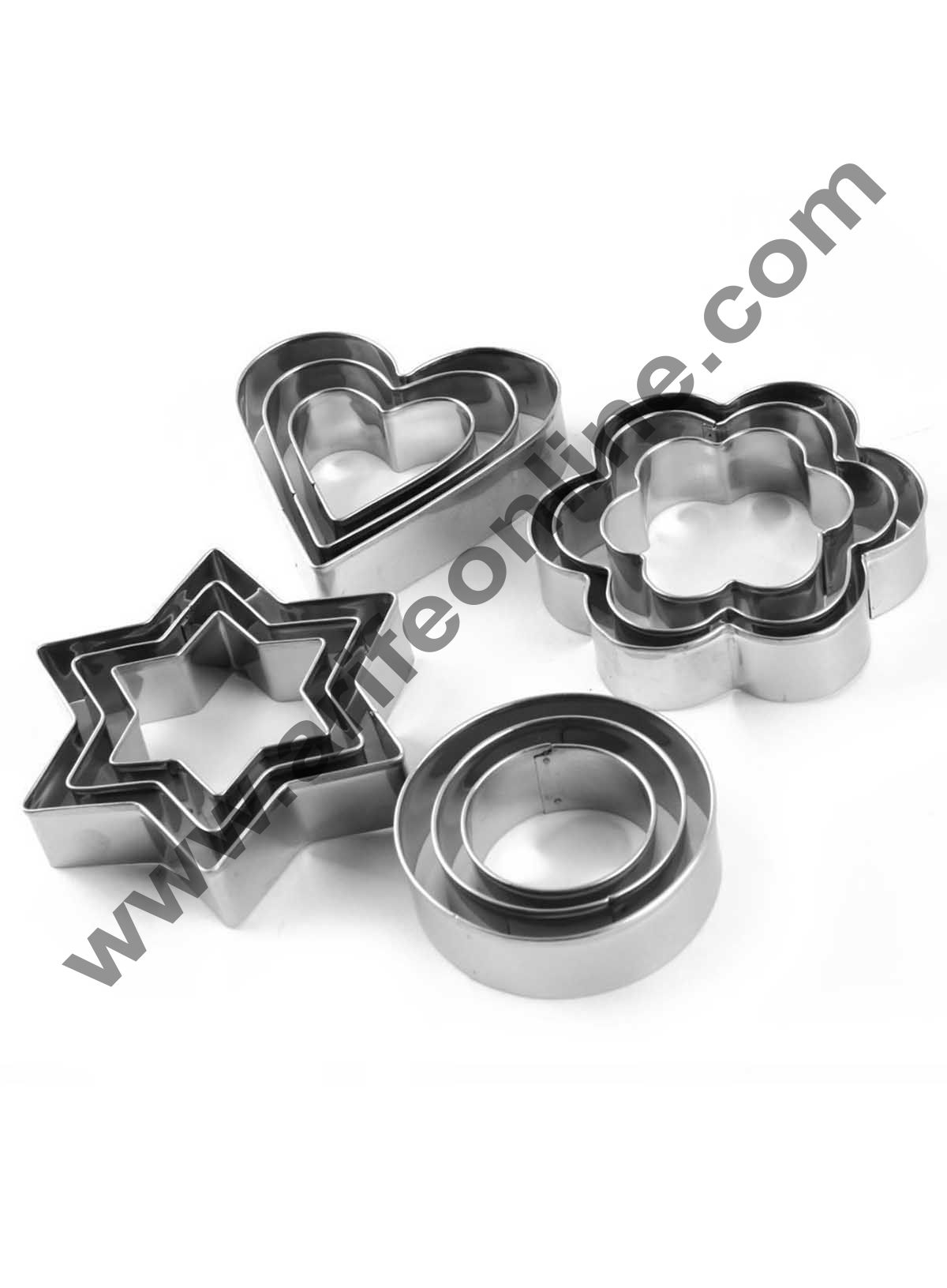 Cake Decor 12Pcs Star,Circle,Heart and Flowers Shape Stainless Steel Cookie Cutter, Cutter Bakeware Mould Biscuit Mould Set Sugar Arts Fondant Cake Decoration Tools