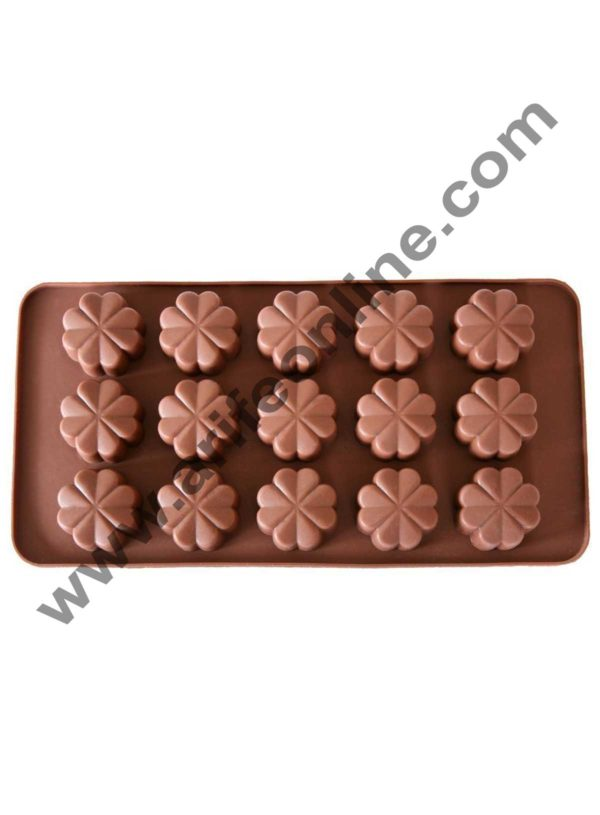 Cake Decor Silicon 15 Cavity Flower Design Brown Chocolate Mould, Ice Mould, Chocolate Decorating Mould 1
