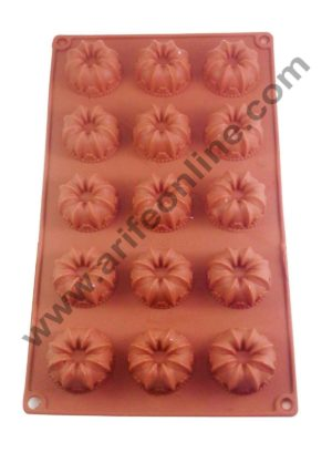 Cake Decor Silicon 15 in 1 Donut Frill Flower Muffin Cupcake Mould