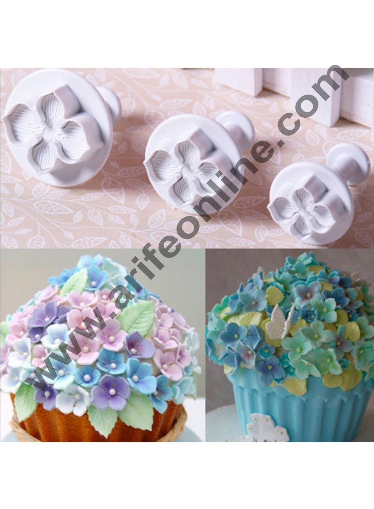 Cake Decor 3pcs Hydrangea Veined Laurustinus Flower Cake Sugar Craft Fondant Plunger Cutters