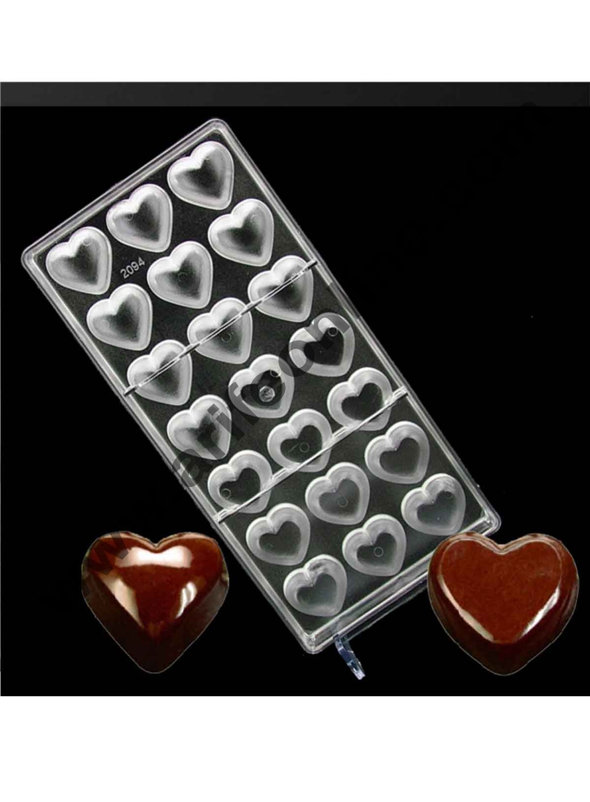 Cake Decor 21 Cavity Heart Clear Polycarbonate Plastic Handmade Chocolate PC Mold, Chocolate Tools, Love Valentine's Day Gift for Lover-in Baking & Pastry Tools
