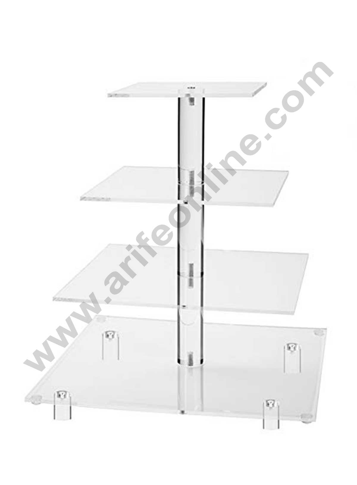 4 Tier Acrylic Cup Cake Display Stand Square