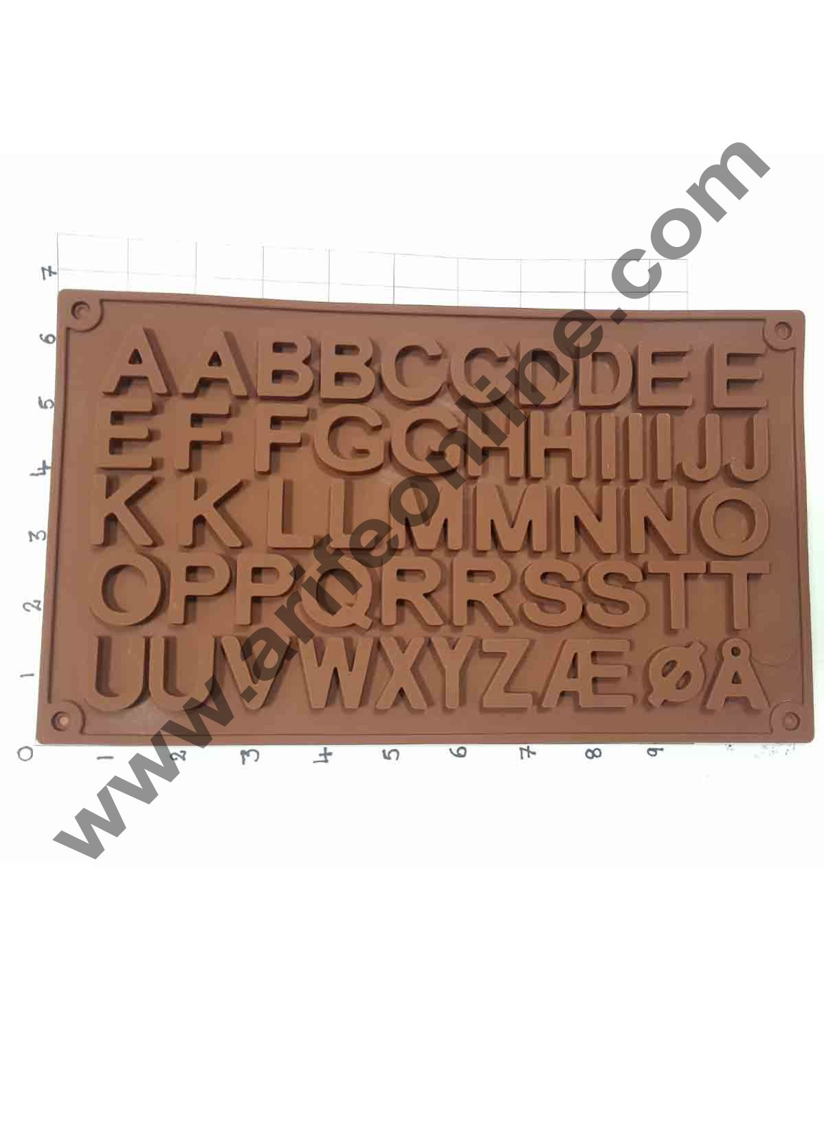 Cake Decor 51-Cavity Double A to Z Alphabets Shape Silicone Brown Chocolate Moulds