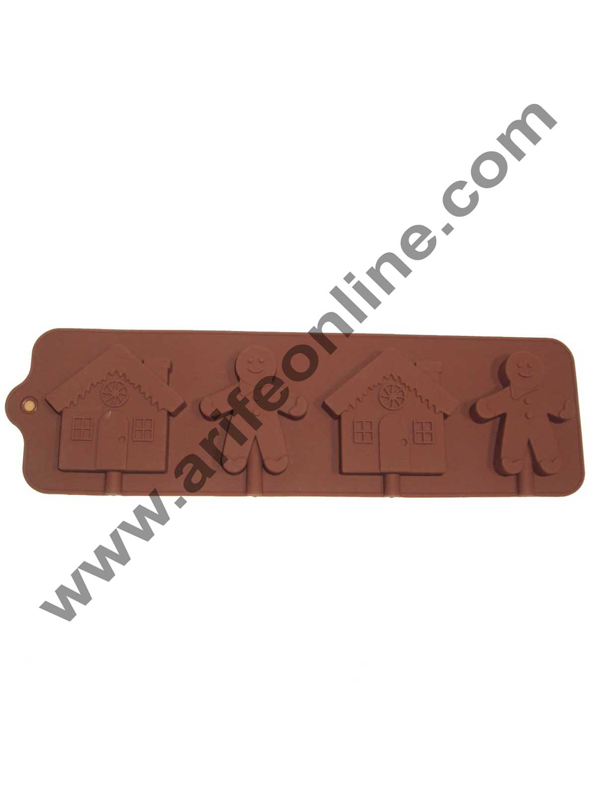 Cake Decor Silicon 4 Cavity Ginger and Home Brown Chocolate Mould, Ice Mould, Chocolate Decorating Mould