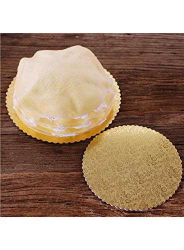 Cake Decor Gold Design Flower Print Glossy Corrugated Cake Board Base 14 Inch Diameter for 3 Kg Cakes- Pack of 5Pcs