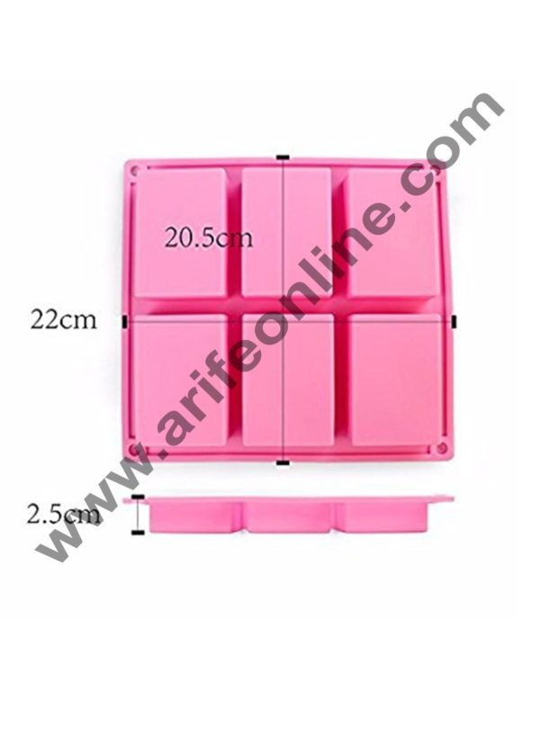 Cake Decor 1PC 6 Handmade Rectangle Silicone Soap Mold Chocolate Cookies Mould Cake Decorating Fondant Molds Pink Color 1