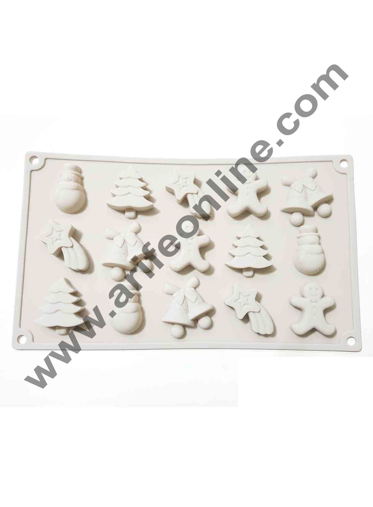 Cake Decor 15-Cavity Christmas Tree,Jingle Bell Chocolate Silicone Mould for Homemade Soap, Cake, Cupcake, Pudding, Jelly, Bread,Soap Ice Cube Tray Mould Mold Shape Silicone Brown Chocolate Moulds