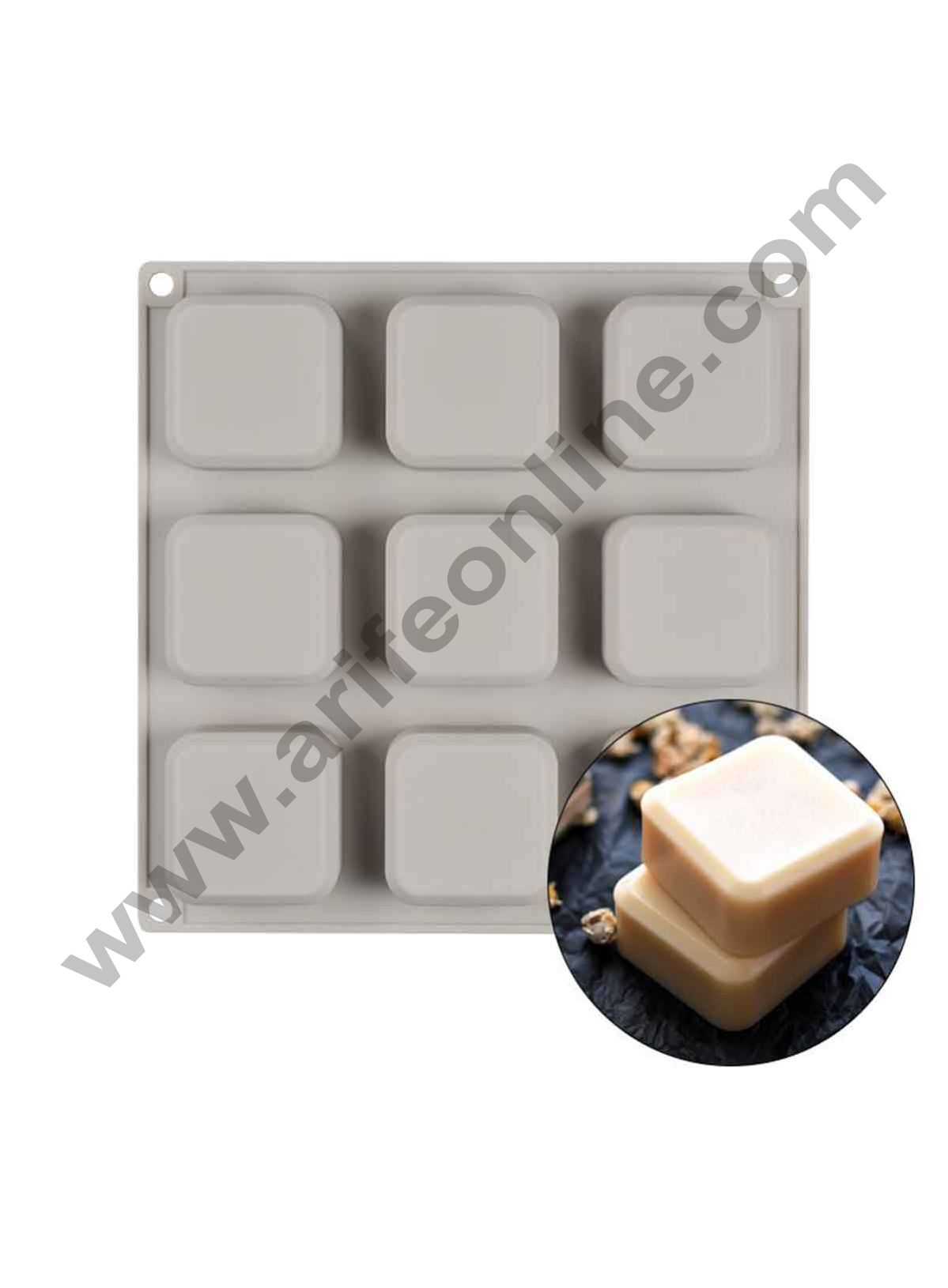 Cake Decor 9-Cavity Mold Safe Bakeware Square Silicone Molds for Cakes Mousse Dessert Pastry Soap and Muffin Baking Moulds