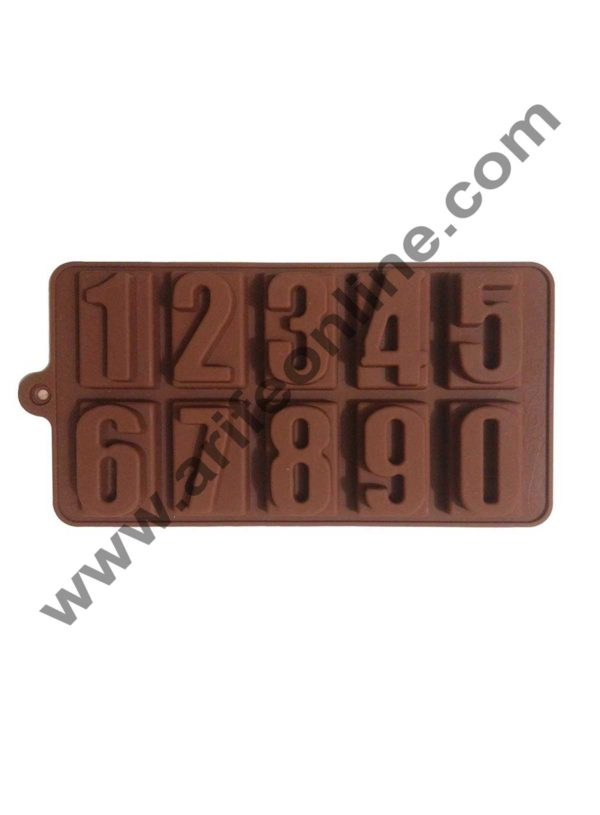Cake Decor Silicon 10 Cavity Number Shape Brown Chocolate Mould, Ice Mould, Chocolate Decorating Mould 1