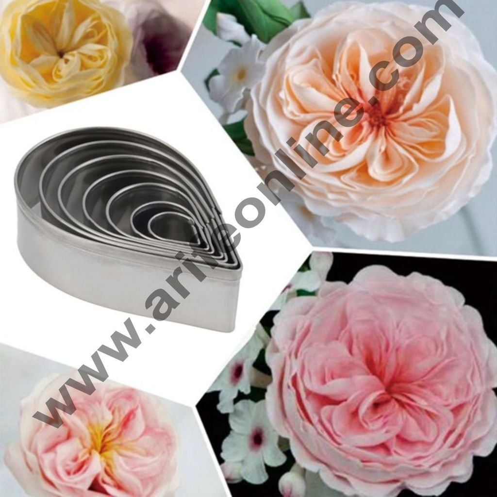 Cake Decor 7 Pcs New Austin Rose Cutter Set Bakeware Mould Biscuit Mould Set Sugar Arts Fondant Cake Decoration Tools
