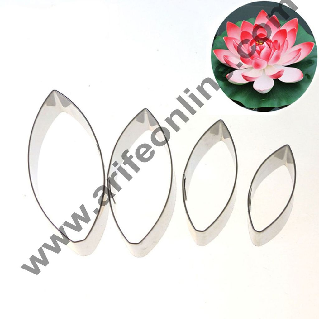 Cake Decor 4 Pcs Water Lily Petal Cutter Set Bakeware Mould Biscuit Mould Set Sugar Arts Fondant Cake Decoration Tools
