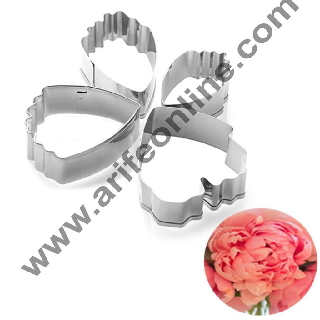 Cake Decor 4 Pcs Small Peony Petal Shape Cutter Set Bakeware Mould Biscuit Mould Set Sugar Arts Fondant Cake Decoration Tools