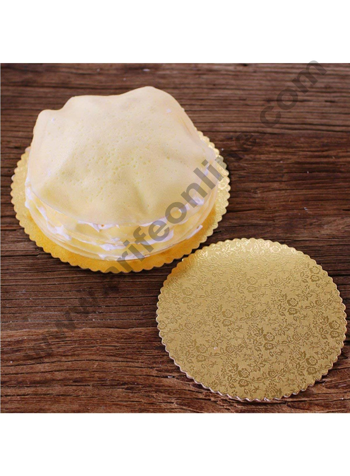 Cake Decor Gold Design Flower Print Glossy Corrugated Cake Board Base 8 Inch Diameter for Half Kg Cakes- Pack of 10Pcs