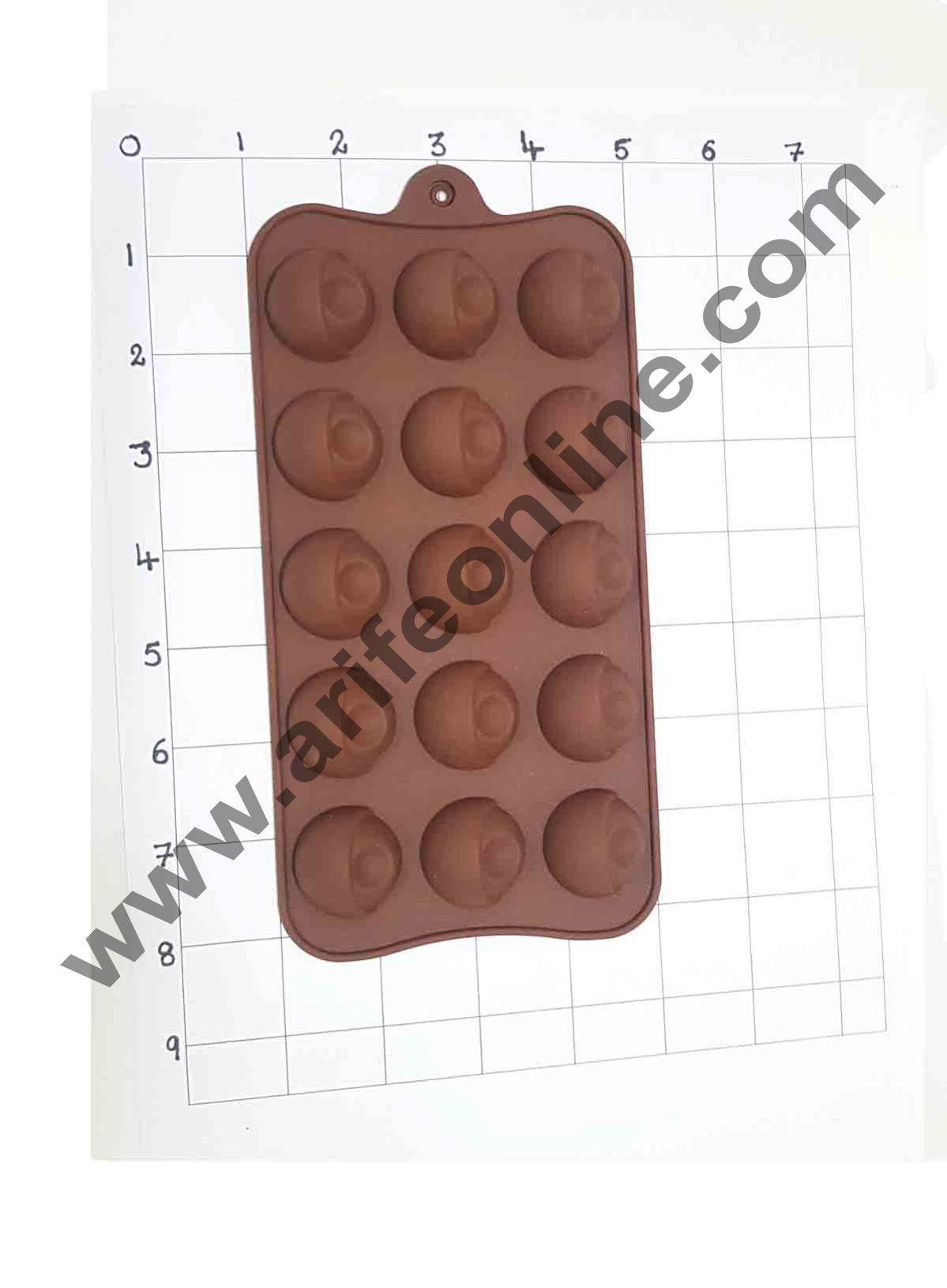 Cake Decor Silicon 15 Cavity Half Sphere with Round Shapes Design Brown Chocolate Mould, Ice Mould, Chocolate Decorating Mould