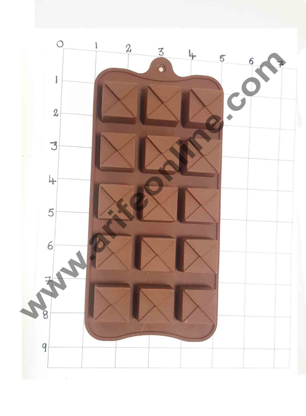 Cake Decor Silicon 15 Cavity Envelope Design Brown Chocolate Mould, Ice Mould, Chocolate Decorating Mould