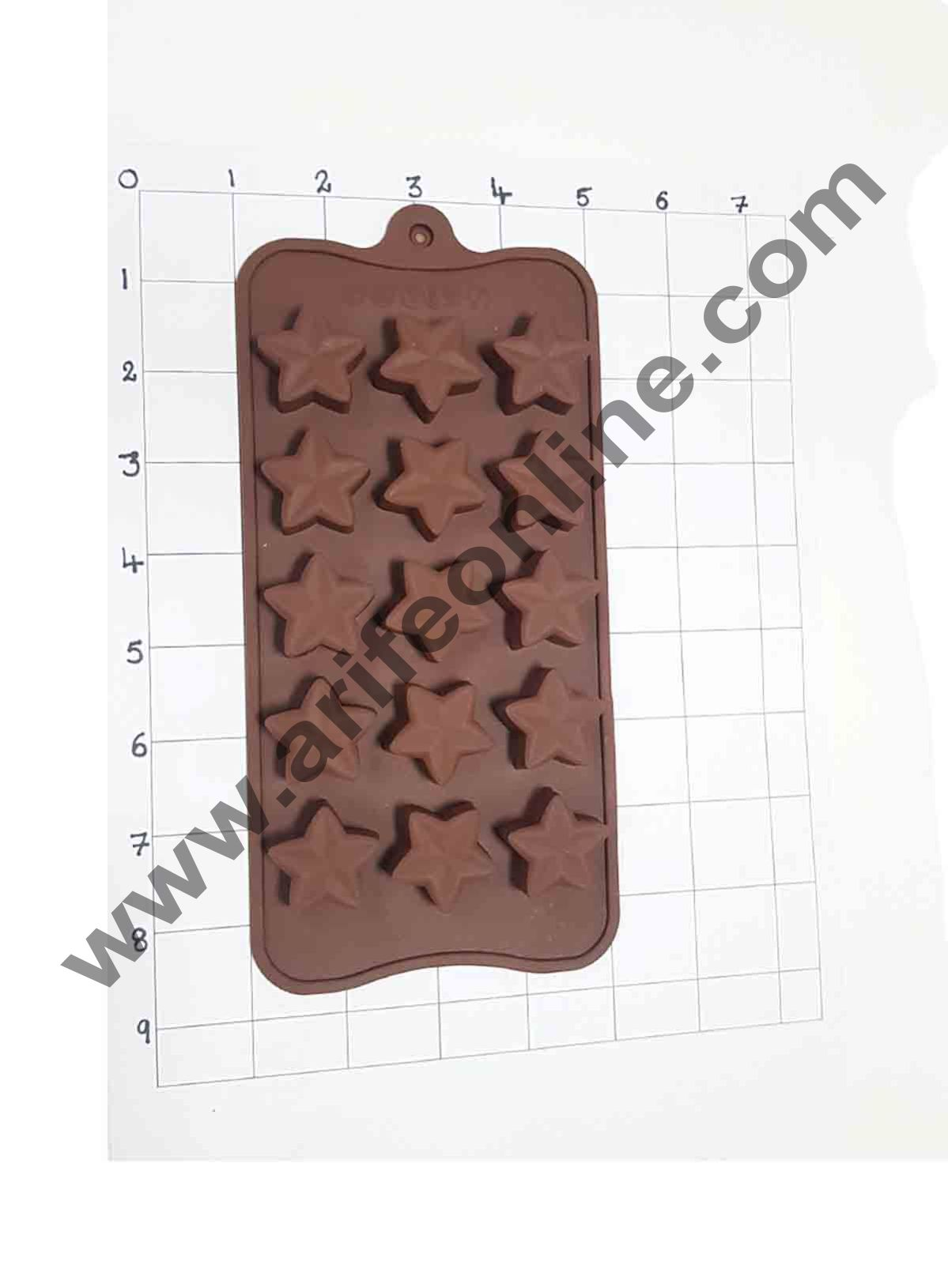 Cake Decor Silicon 15 Cavity Star Design Brown Chocolate Mould, Ice Mould, Chocolate Decorating Mould