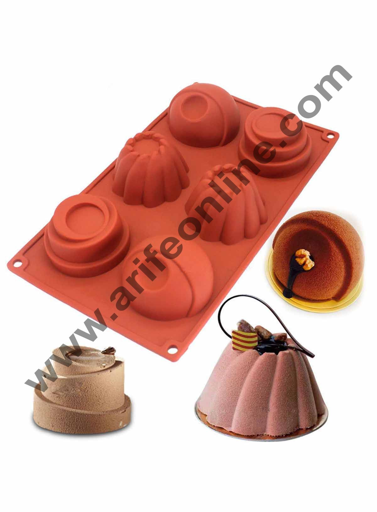 Cake Decor 6 in 1 Silicon Bakeware Mix Design Cupcake Moulds Muffin Mould