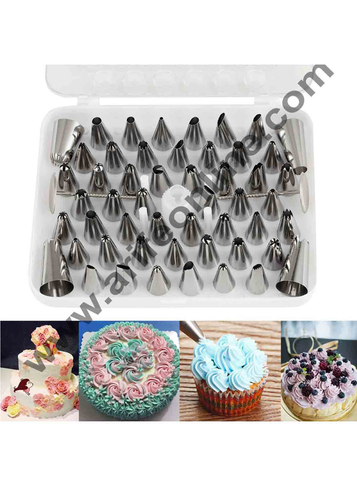 Cake Decor 52pcs/Set Box Piping Nozzles Pastry Tips Cupcake Cake Decorating Stainless Steel Nozzles