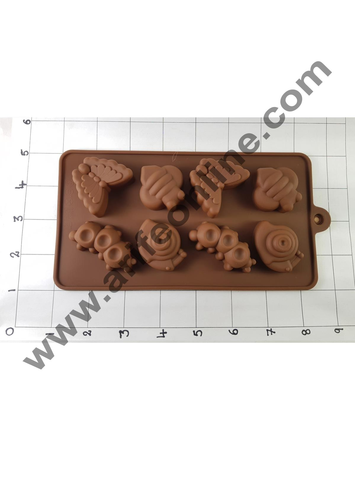 Cake Decor Silicon 8 Cavity Butterfly And Catterpilar Shape Brown Chocolate Mould, Ice Mould, Chocolate Decorating Mould