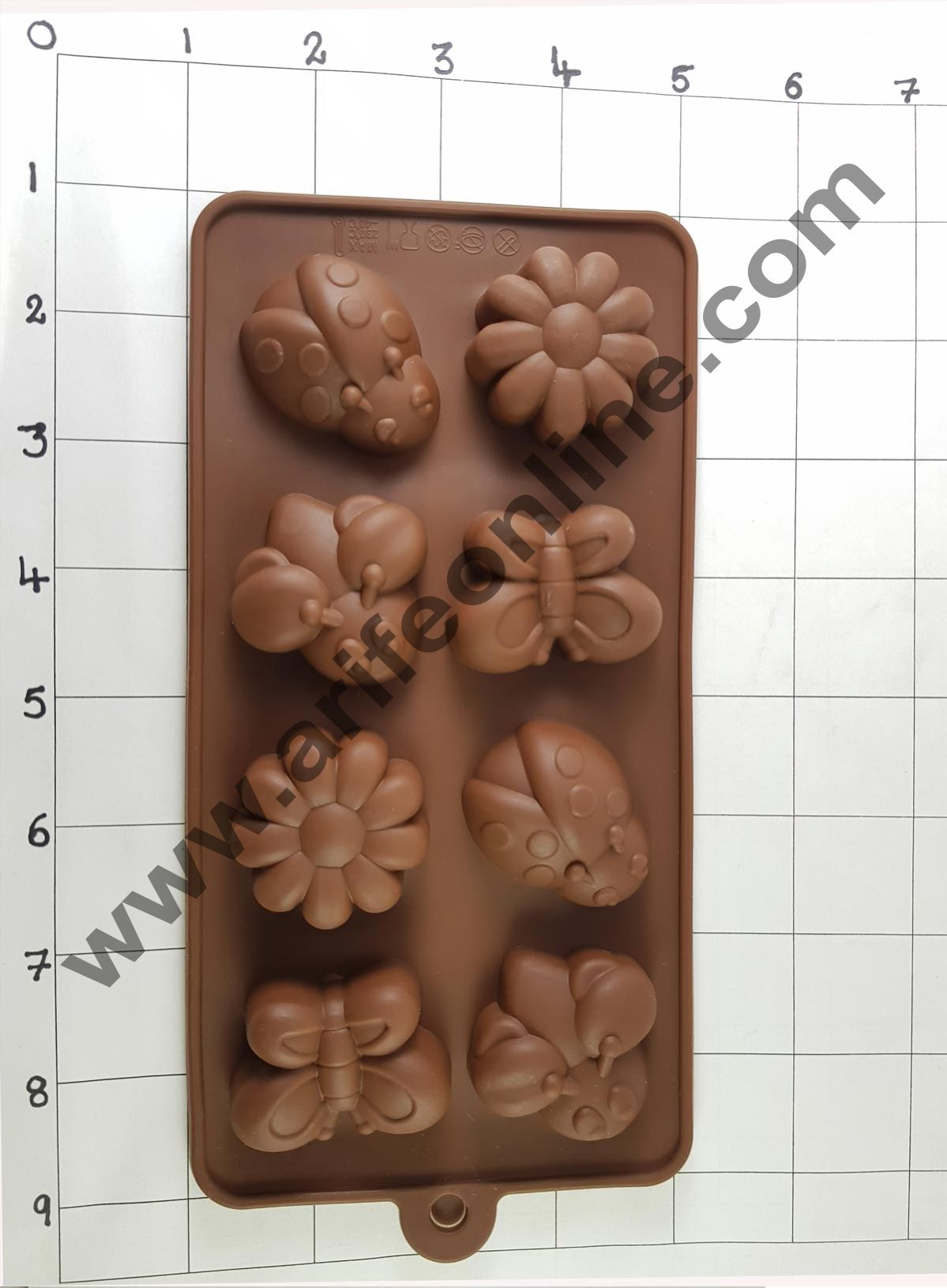 Cake Decor Silicon 8 Cavity Butterfly and Flower Design Brown Chocolate Mould, Ice Mould, Chocolate Decorating Mould