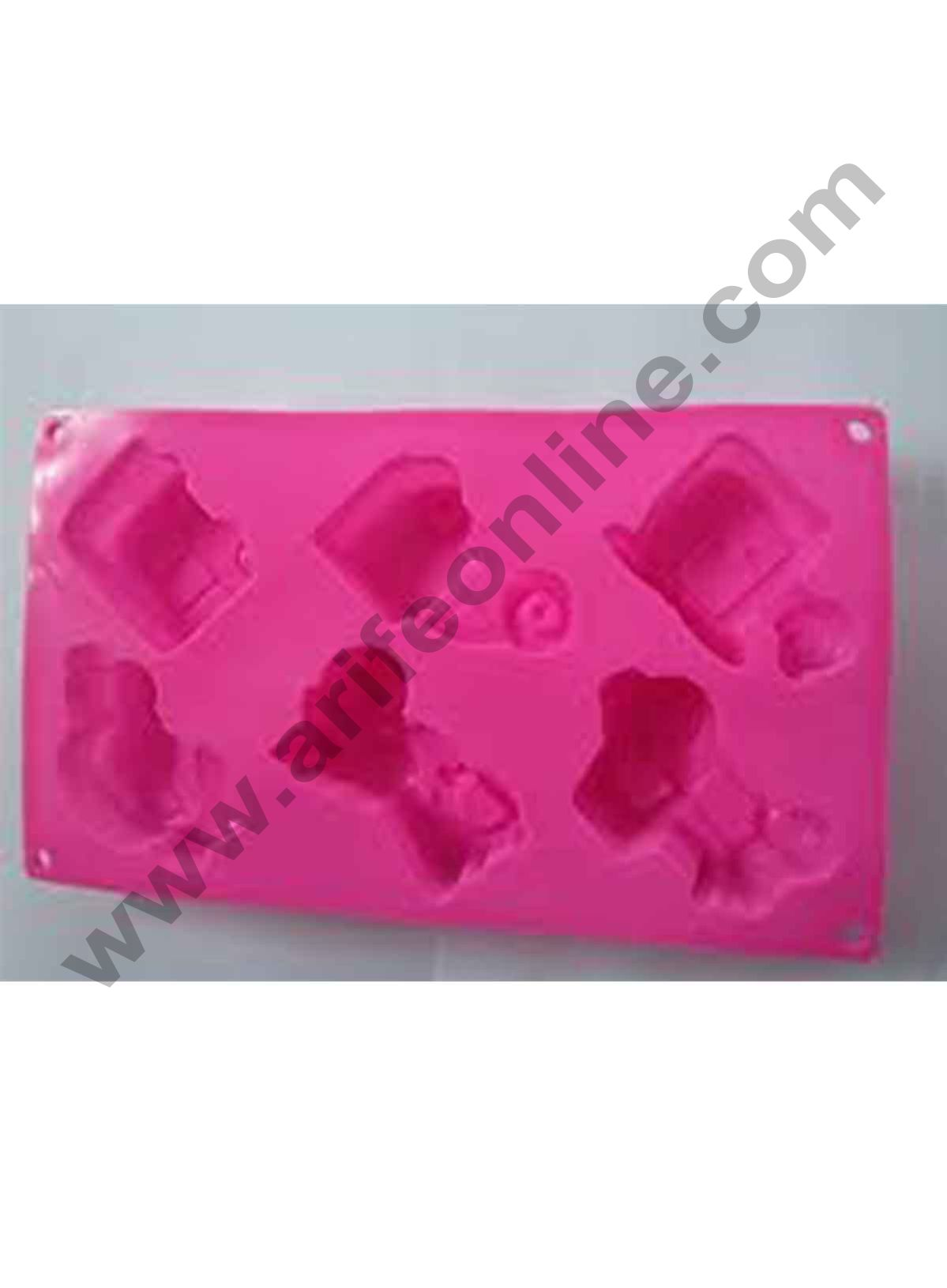 Cake Decor Silicone 6 Cavity Car Bike Jeep Bus Van Helicopter Design Muffin Mould Soap Mould (Output Weight : Approx 100 Grams)