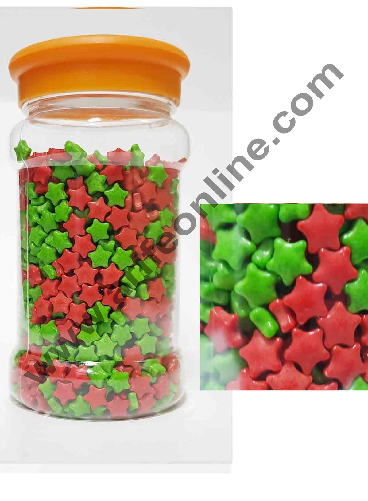 Cake Decor Christmas Stars Red,Green Sugar Candy