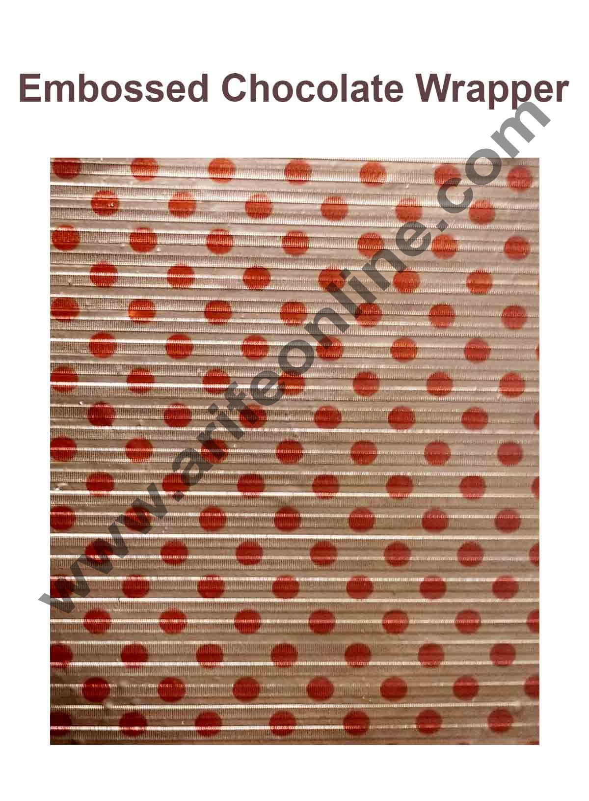 Cake Decor Chocolate Wrappering Foil, Embossed Chocolate Wrapper, 200 Sheets - 10in x 7in - Dotted Light Red and Red