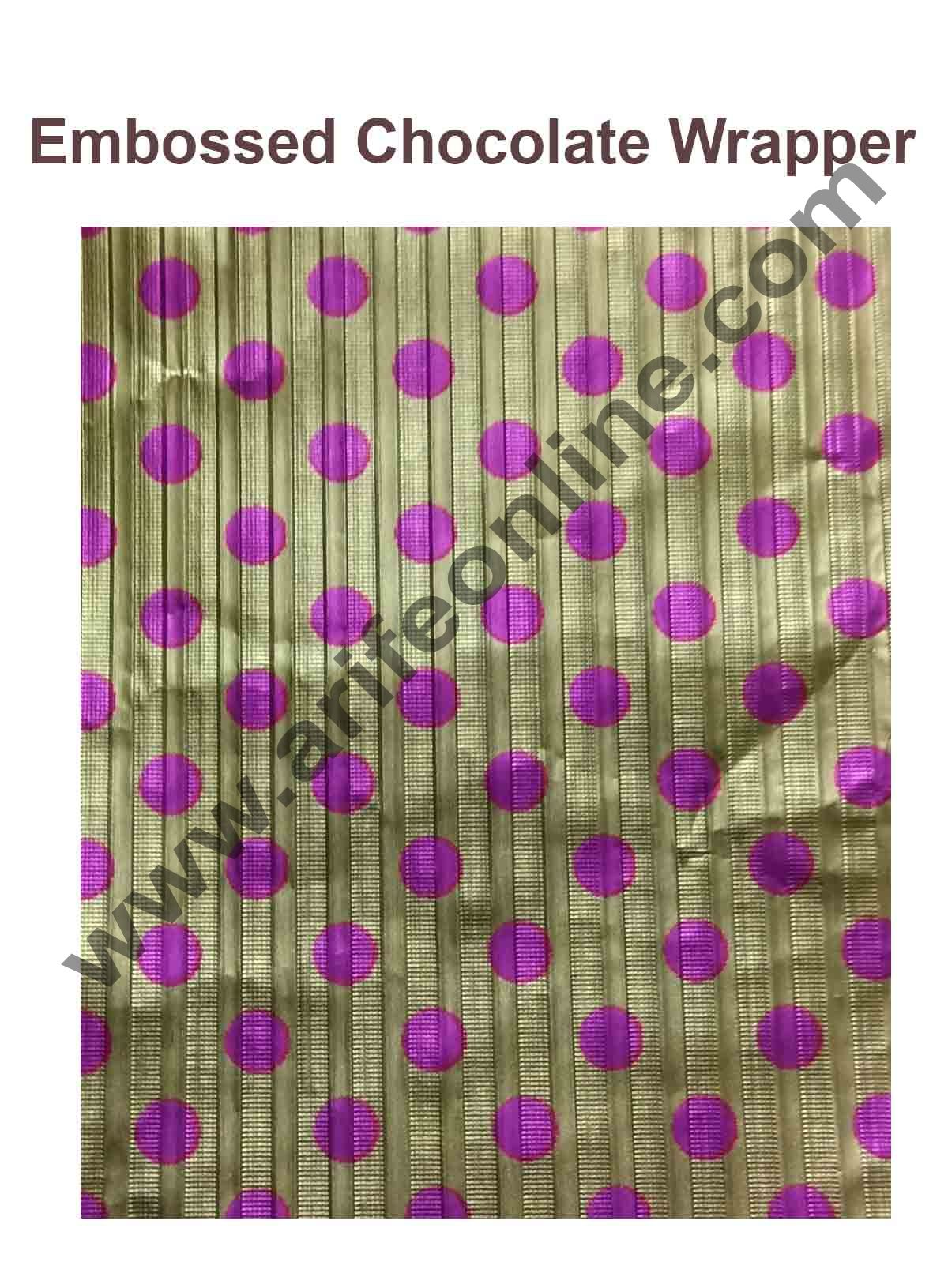 Cake Decor Chocolate Wrappering Foil, Embossed Chocolate Wrapper, 200 Sheets - 10in x 7in - Dotted Light Gold Pink