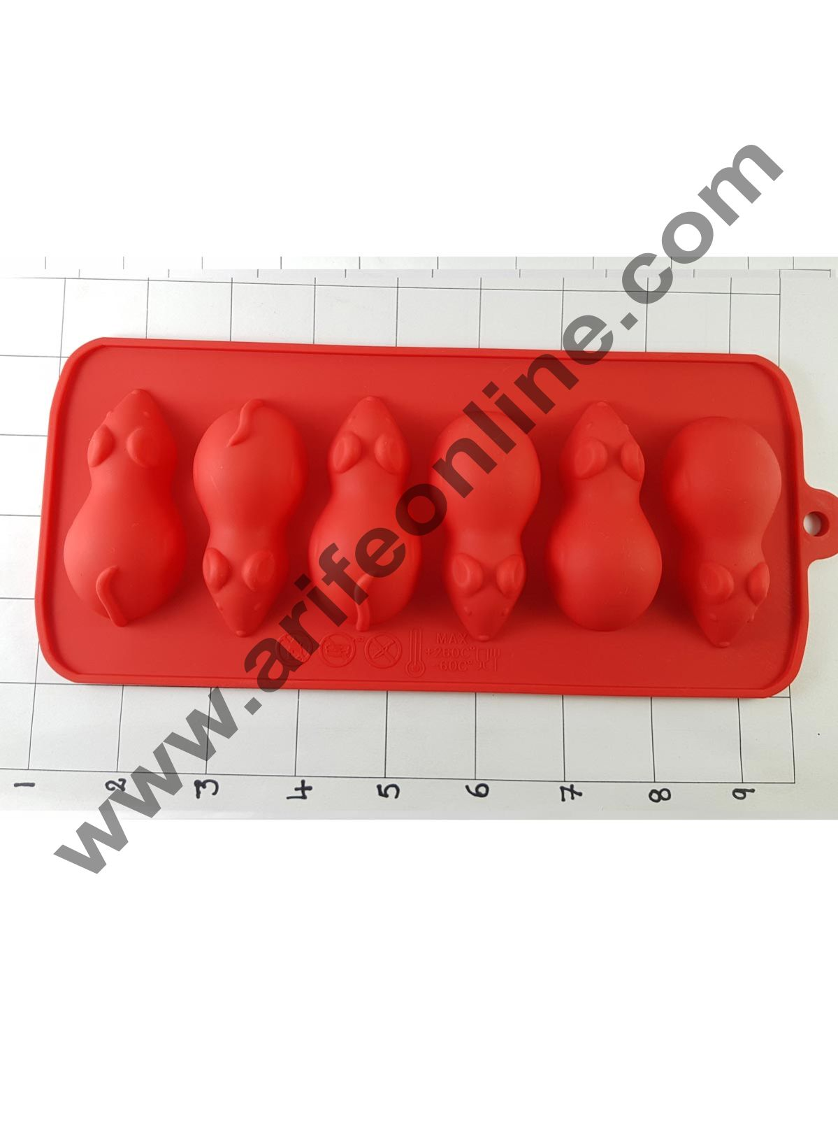 Cake Decor Silicon 6 Cavity Rat Shape Design Brown Chocolate Mould, Ice Mould, Chocolate Decorating Mould