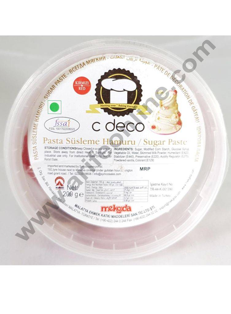 C Deco Sugar Paste (Fondant)-Red 200 GRM