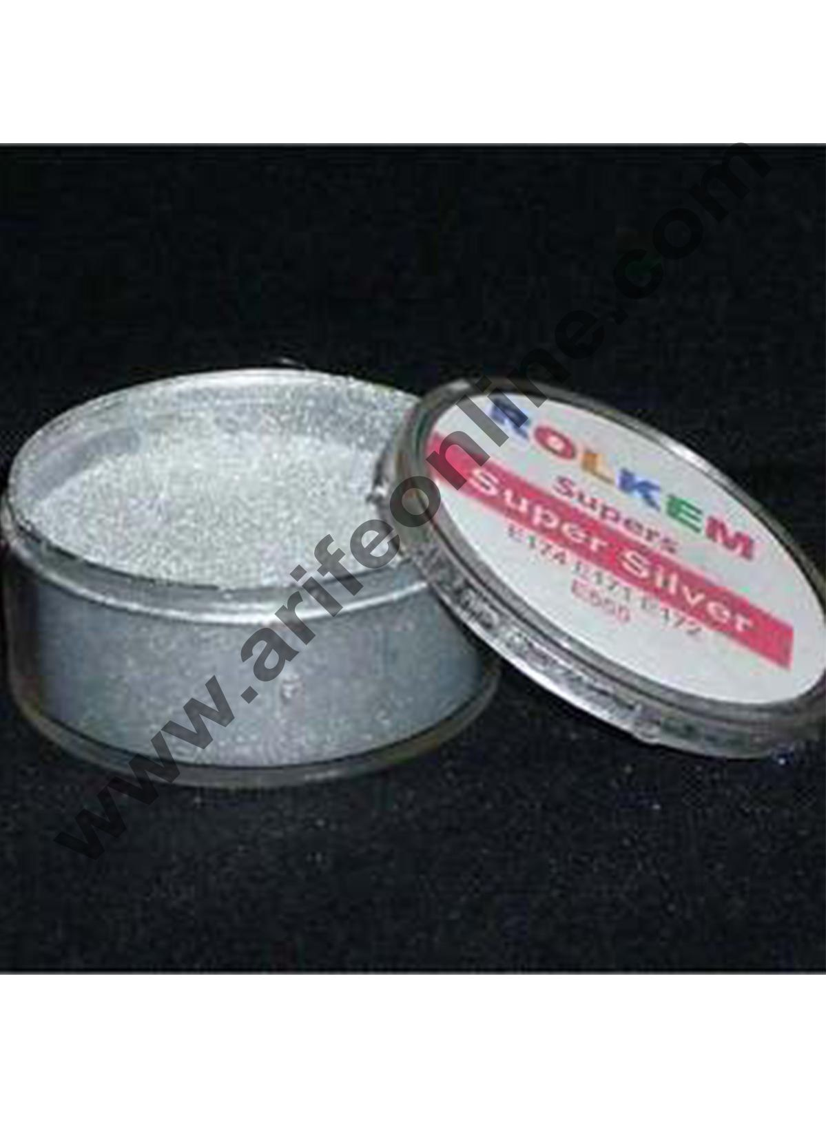 Rolkem Super Silver Metallic Edible Luxury Lustre Dusting Powder 10ml,By Cake Decor