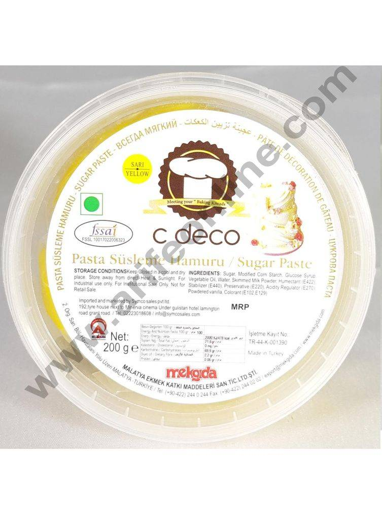 C Deco Sugar Paste (Fondant)-Yellow 200 GRM