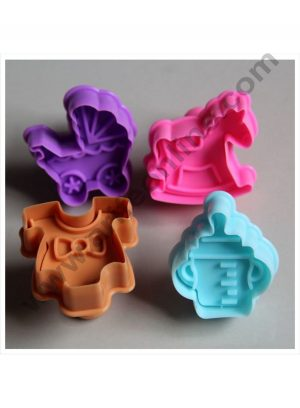 Cake Decor 4 Pc Baby Shower Plastic Biscuit Cutter Plunger Cutter