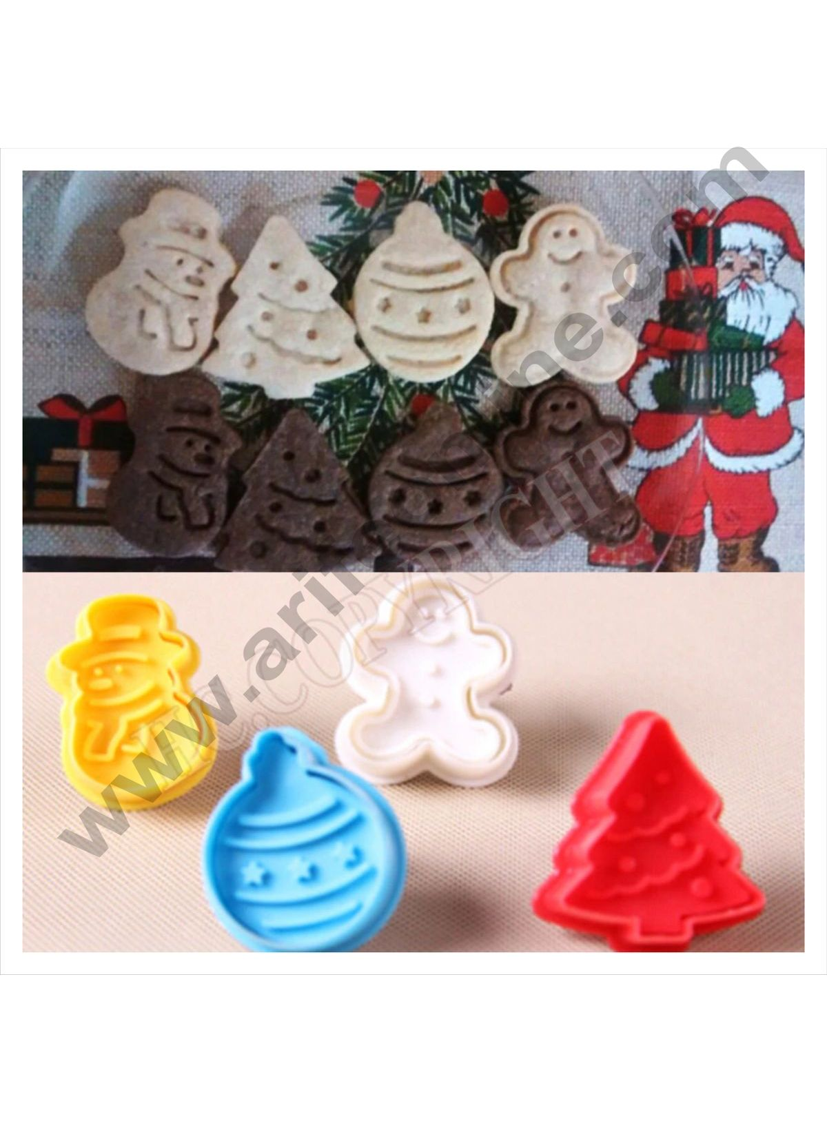 Cake Decor 4 Pc Christmas GingerBread Plastic Biscuit Cutter Plunger Cutter