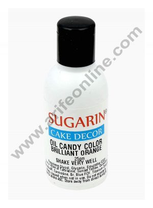 Sugarin Oil Candy Color for White Chocolate & Oil based Products, Brilliant Orange 25 gram