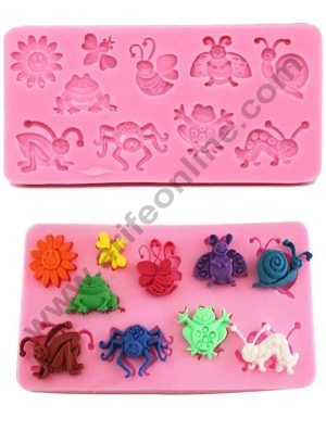 Cake Decor Silicon 10 Cavity Insects Bugs Butterfly Silicone Fondant Mould Marzipan Mould