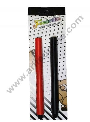 Cake Decor Food Writer Cake Decorating markers Pens, Set of 2pcs Red And Black.