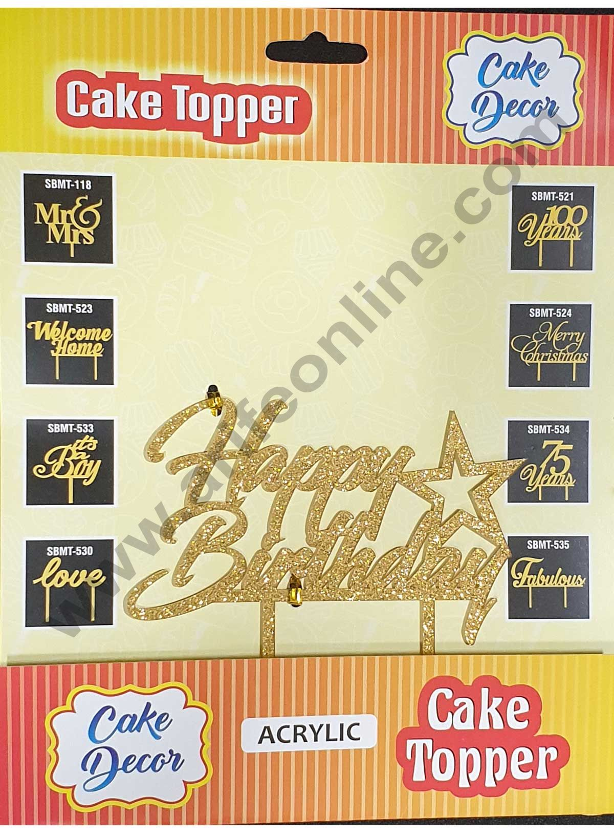 Cake Decor Mirror Shimmer Shining  Acrylic Cake Topper Happy Birthday