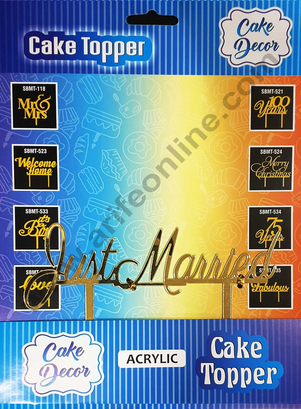 Cake Decor Mirror Shimmer Shining  Acrylic Cake Topper Just Married
